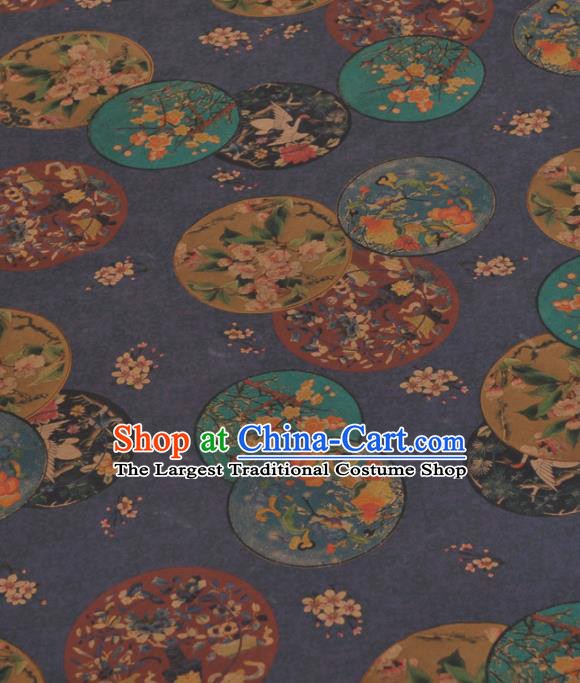 Chinese Classical Flowers Vase Pattern Design Navy Gambiered Guangdong Gauze Traditional Asian Brocade Silk Fabric