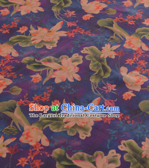 Chinese Classical Lotus Pattern Design Purple Gambiered Guangdong Gauze Traditional Asian Brocade Silk Fabric