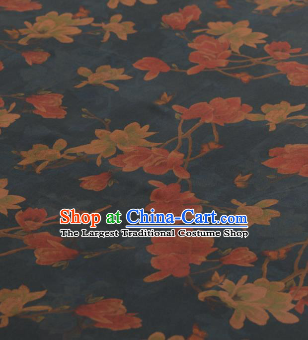 Asian Chinese Classical Magnolia Pattern Design Navy Gambiered Guangdong Gauze Traditional Cheongsam Brocade Silk Fabric