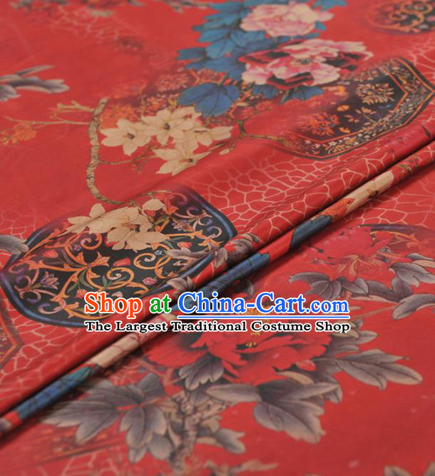 Chinese Classical Peony Pattern Design Red Gambiered Guangdong Gauze Traditional Asian Brocade Silk Fabric