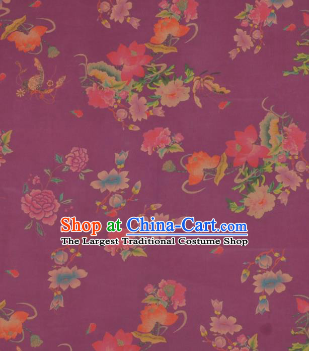 Chinese Classical Lotus Peony Pattern Design Purple Gambiered Guangdong Gauze Traditional Asian Brocade Silk Fabric