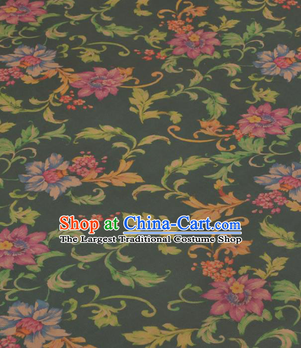 Chinese Classical Peony Pattern Design Green Gambiered Guangdong Gauze Traditional Asian Brocade Silk Fabric