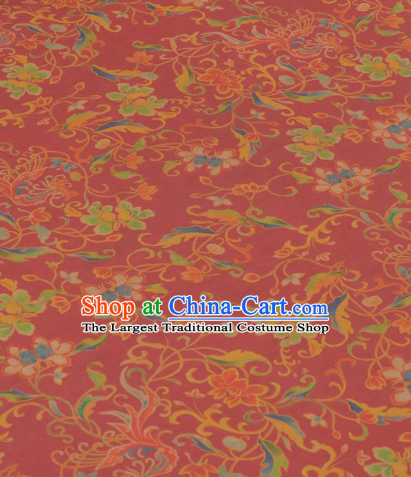 Chinese Classical Phoenix Peony Pattern Design Red Gambiered Guangdong Gauze Traditional Asian Brocade Silk Fabric