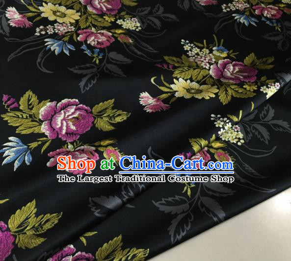Asian Chinese Classical Roses Pattern Black Brocade Satin Drapery Traditional Cheongsam Brocade Silk Fabric