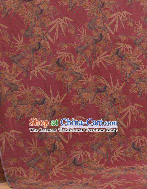 Asian Chinese Classical Plum Bamboo Leaf Pattern Wine Red Gambiered Guangdong Gauze Traditional Cheongsam Brocade Silk Fabric