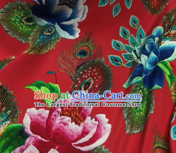 Asian Chinese Classical Lotus Pattern Red Brocade Satin Drapery Traditional Cheongsam Brocade Silk Fabric