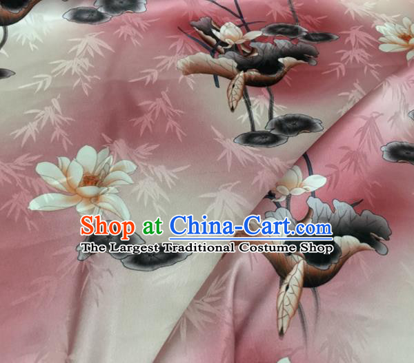 Asian Chinese Classical Lotus Pattern Pink Brocade Satin Drapery Traditional Cheongsam Brocade Silk Fabric