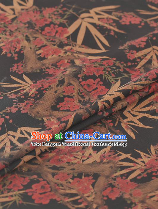 Asian Chinese Classical Plum Bamboo Leaf Pattern Black Gambiered Guangdong Gauze Traditional Cheongsam Brocade Silk Fabric