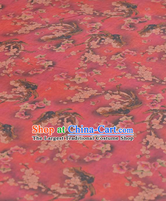 Asian Chinese Classical Plum Pattern Rosy Gambiered Guangdong Gauze Traditional Cheongsam Brocade Silk Fabric