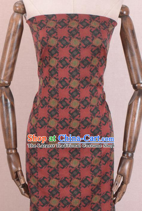 Asian Chinese Classical Lucky Pattern Red Gambiered Guangdong Gauze Traditional Cheongsam Brocade Silk Fabric