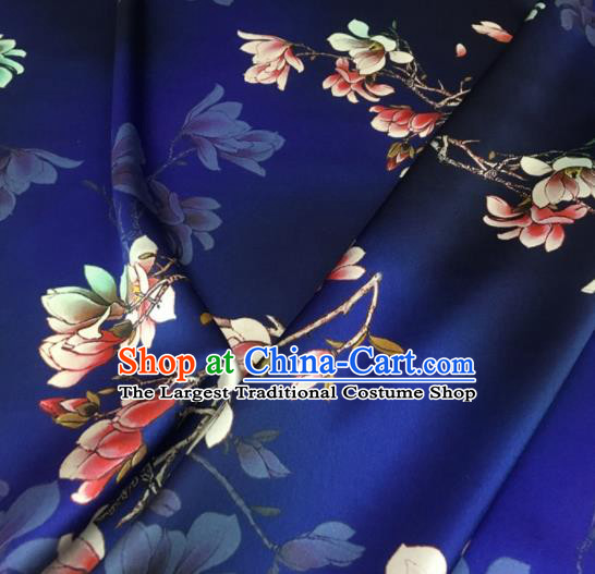 Asian Chinese Classical Magnolia Pattern Royalblue Brocade Satin Drapery Traditional Cheongsam Brocade Silk Fabric