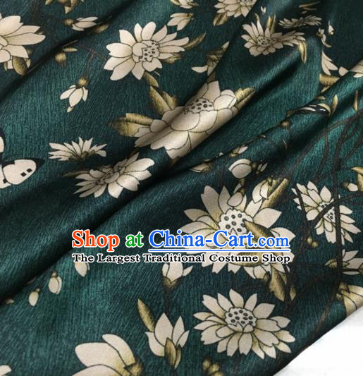 Asian Chinese Classical Lotus Pattern Deep Green Brocade Satin Drapery Traditional Cheongsam Brocade Silk Fabric