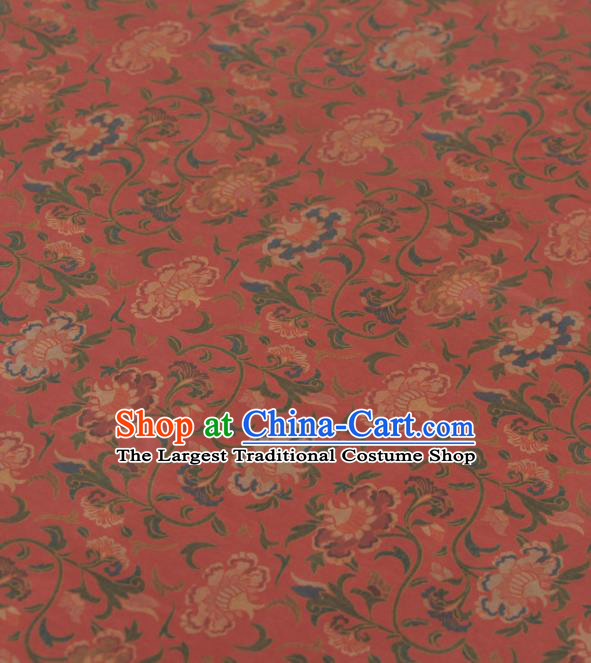 Asian Chinese Classical Pomegranate Flowers Pattern Red Gambiered Guangdong Gauze Traditional Cheongsam Brocade Silk Fabric