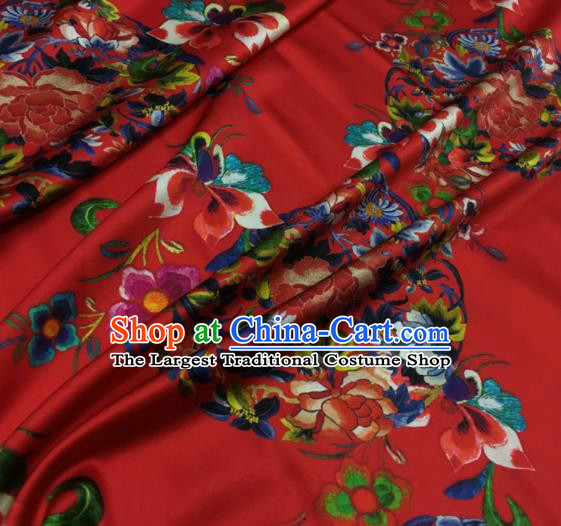 Asian Chinese Classical Round Peony Pattern Red Brocade Satin Drapery Traditional Cheongsam Brocade Silk Fabric