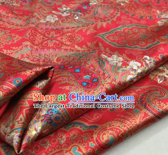 Asian Chinese Classical Pattern Rosy Brocade Satin Drapery Traditional Cheongsam Brocade Silk Fabric