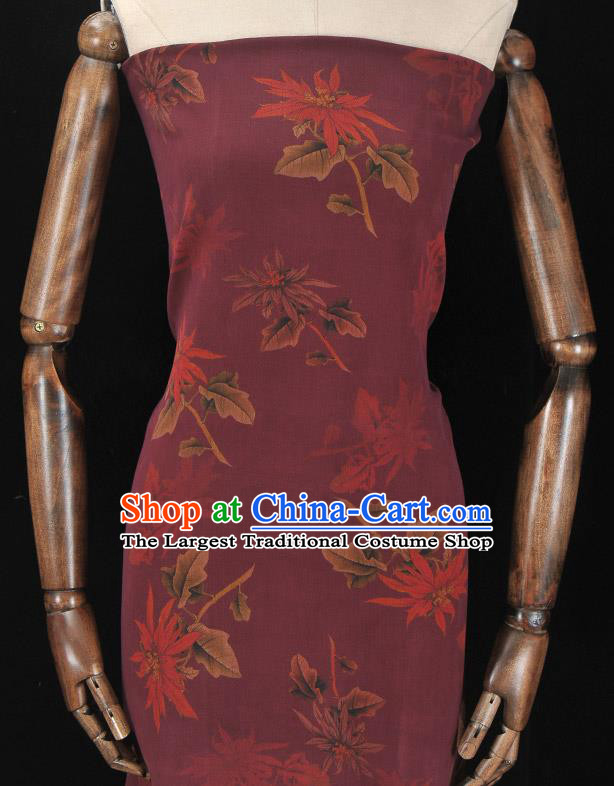 Asian Chinese Classical Maple Leaf Pattern Wine Red Gambiered Guangdong Gauze Traditional Cheongsam Brocade Silk Fabric