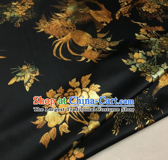 Asian Chinese Classical Peacock Pattern Black Brocade Satin Drapery Traditional Cheongsam Brocade Silk Fabric