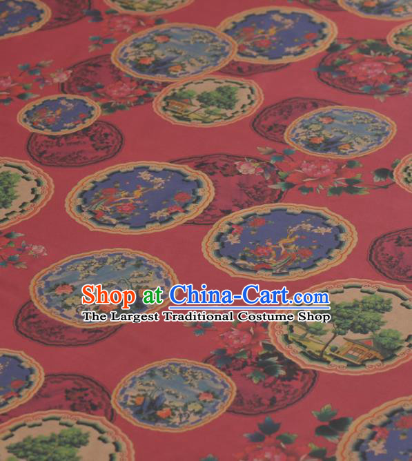Asian Chinese Classical Peony Pavilion Pattern Red Gambiered Guangdong Gauze Traditional Cheongsam Brocade Silk Fabric