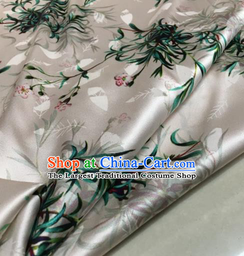 Asian Chinese Classical Orchid Pattern White Brocade Satin Drapery Traditional Cheongsam Brocade Silk Fabric