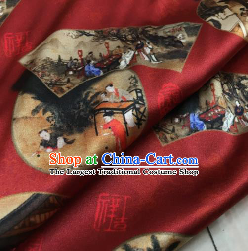 Asian Chinese Classical Pattern Wine Red Brocade Satin Drapery Traditional Cheongsam Brocade Silk Fabric