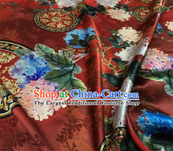 Asian Chinese Classical Kapok Pattern Purplish Red Brocade Satin Drapery Traditional Cheongsam Brocade Silk Fabric