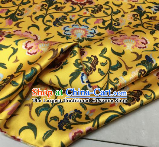 Asian Chinese Classical Totem Pattern Yellow Brocade Satin Drapery Traditional Cheongsam Brocade Silk Fabric