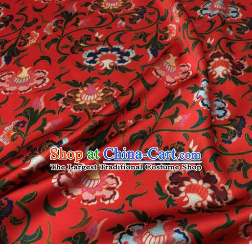 Asian Chinese Classical Totem Pattern Red Brocade Satin Drapery Traditional Cheongsam Brocade Silk Fabric
