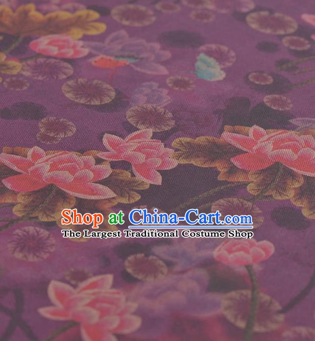 Asian Chinese Classical Lotus Pattern Purple Gambiered Guangdong Gauze Traditional Cheongsam Brocade Silk Fabric