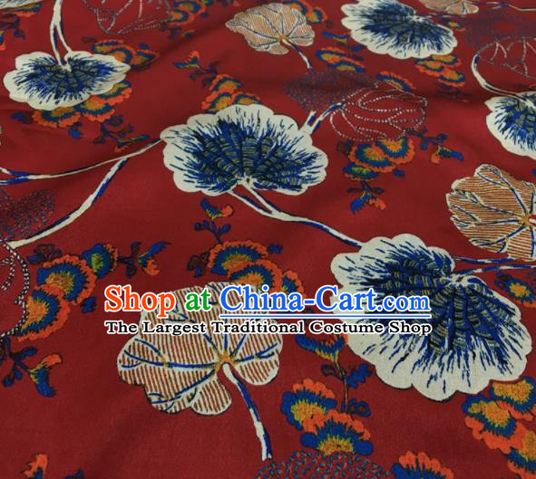 Asian Chinese Classical Lotus Leaf Pattern Red Brocade Satin Drapery Traditional Cheongsam Brocade Silk Fabric