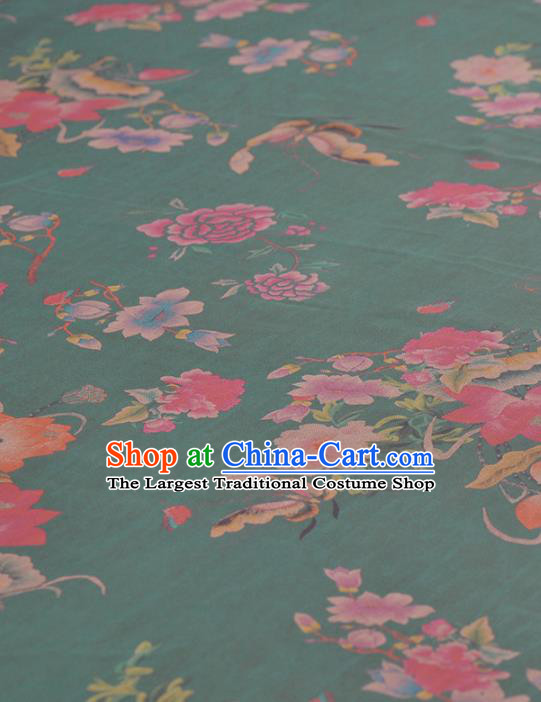 Asian Chinese Classical Lotus Peony Butterfly Pattern Green Gambiered Guangdong Gauze Traditional Cheongsam Brocade Silk Fabric