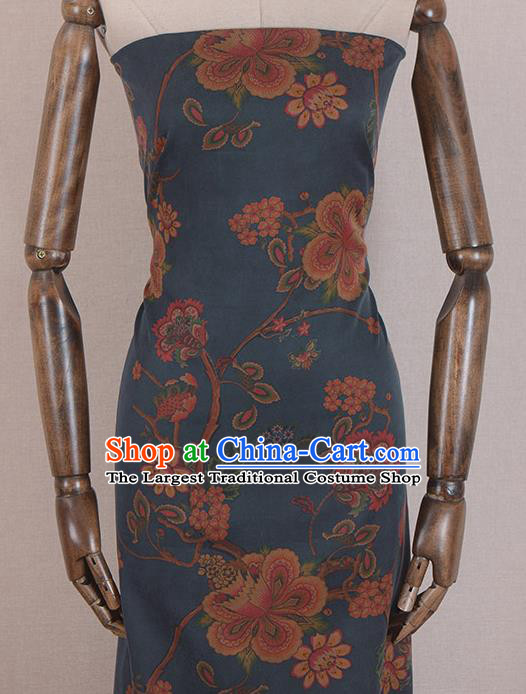 Asian Chinese Classical Peach Blossom Pattern Blue Gambiered Guangdong Gauze Traditional Cheongsam Brocade Silk Fabric