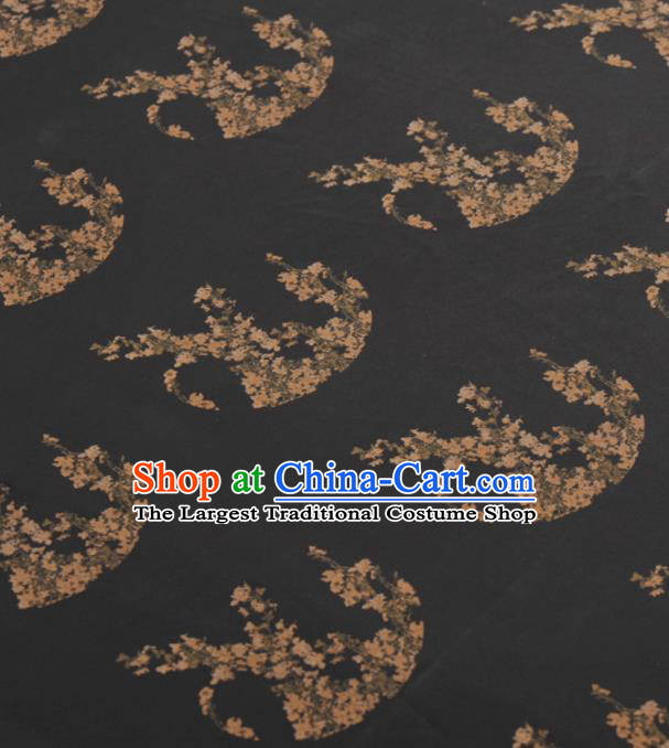 Asian Chinese Classical Plum Pattern Black Gambiered Guangdong Gauze Traditional Cheongsam Brocade Silk Fabric