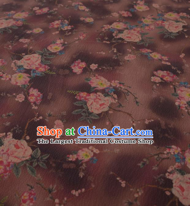 Asian Chinese Classical Peony Pattern Brown Gambiered Guangdong Gauze Traditional Cheongsam Brocade Silk Fabric
