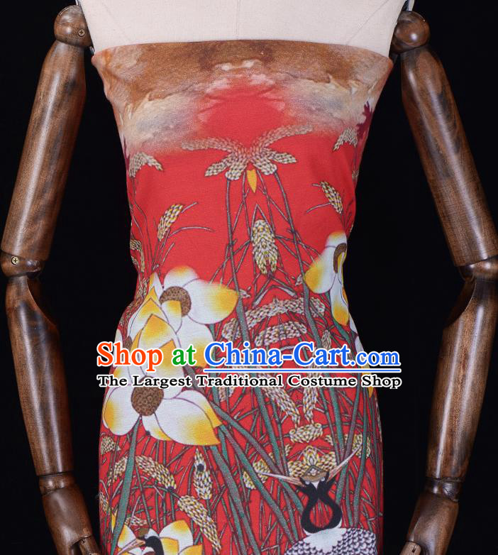 Asian Chinese Classical Cranes Lotus Pattern Red Gambiered Guangdong Gauze Traditional Cheongsam Brocade Silk Fabric