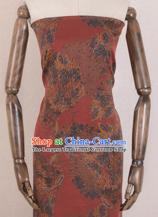 Asian Chinese Classical Peacock Tail Pattern Red Gambiered Guangdong Gauze Traditional Cheongsam Brocade Silk Fabric