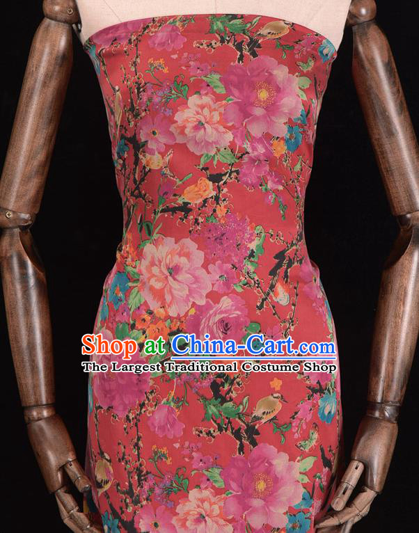 Asian Chinese Classical Peony Pattern Red Gambiered Guangdong Gauze Traditional Cheongsam Brocade Silk Fabric