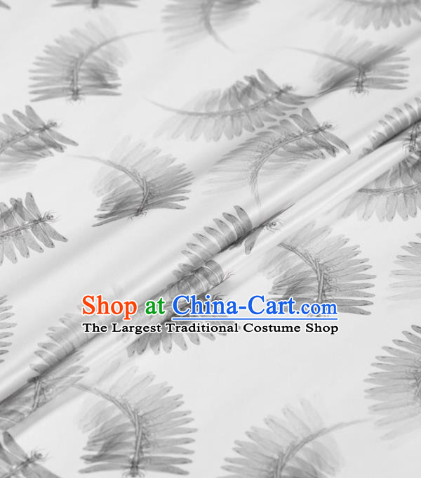 Asian Chinese Classical Pattern White Gambiered Guangdong Gauze Traditional Cheongsam Brocade Silk Fabric