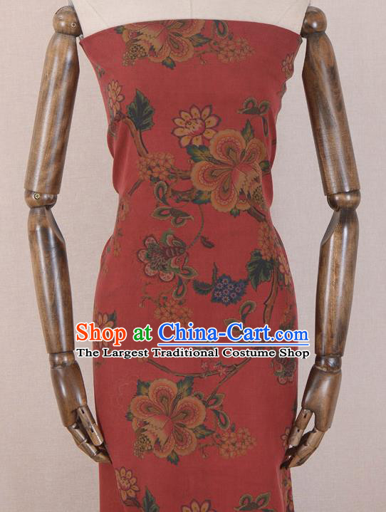 Asian Chinese Classical Peach Flower Pattern Red Gambiered Guangdong Gauze Traditional Cheongsam Brocade Silk Fabric
