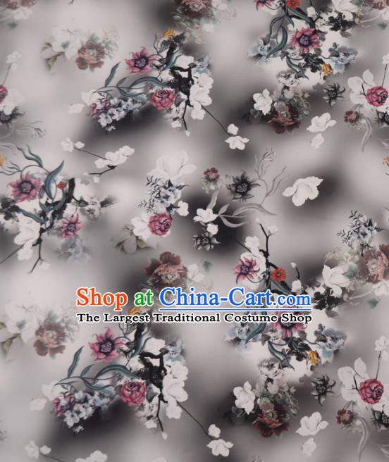 Asian Chinese Classical Flowers Pattern Grey Gambiered Guangdong Gauze Traditional Cheongsam Brocade Silk Fabric