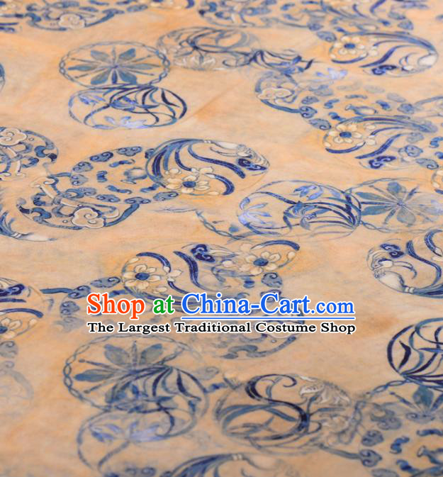 Asian Chinese Classical Orchid Pattern Yellow Gambiered Guangdong Gauze Traditional Cheongsam Brocade Silk Fabric