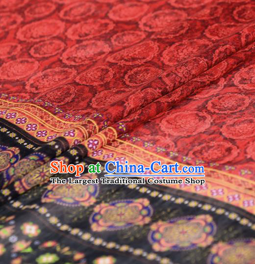 Asian Chinese Classical Pattern Red Gambiered Guangdong Gauze Traditional Cheongsam Brocade Silk Fabric