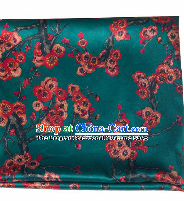 Asian Chinese Classical Plum Pattern Deep Green Brocade Satin Drapery Traditional Cheongsam Brocade Silk Fabric
