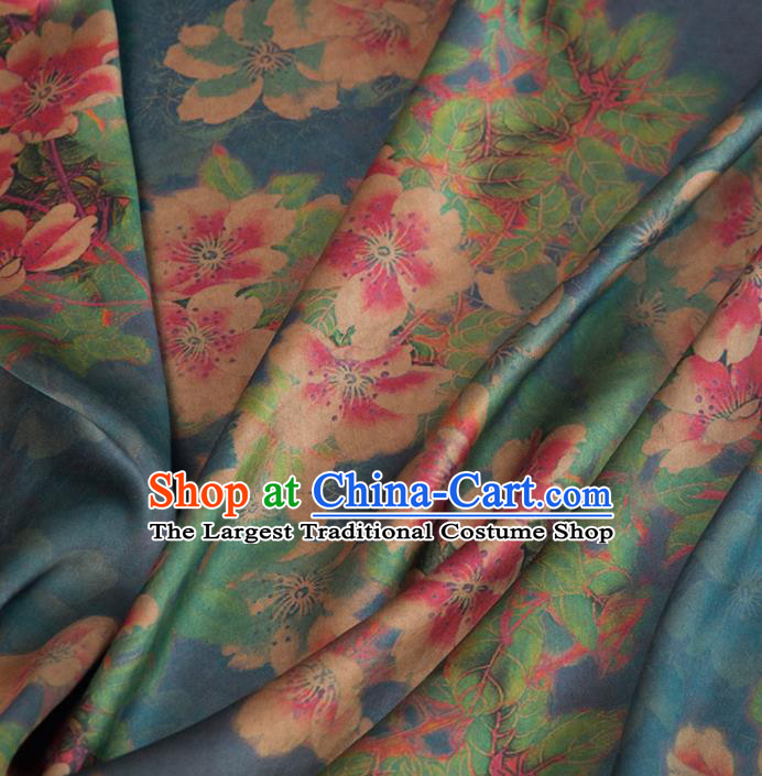 Asian Chinese Classical Peach Blossom Pattern Deep Green Brocade Satin Drapery Traditional Cheongsam Brocade Silk Fabric