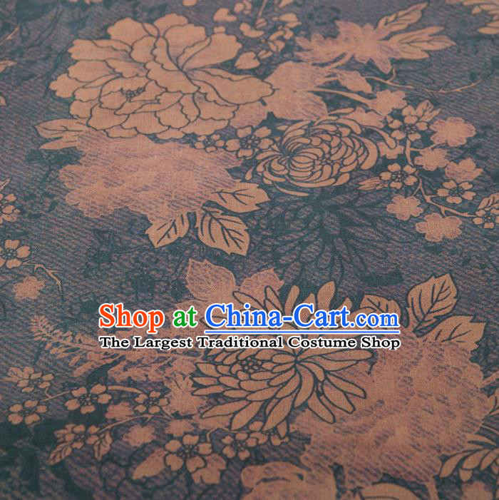 Asian Chinese Classical Chrysanthemum Peony Pattern Navy Brocade Satin Drapery Traditional Cheongsam Brocade Silk Fabric