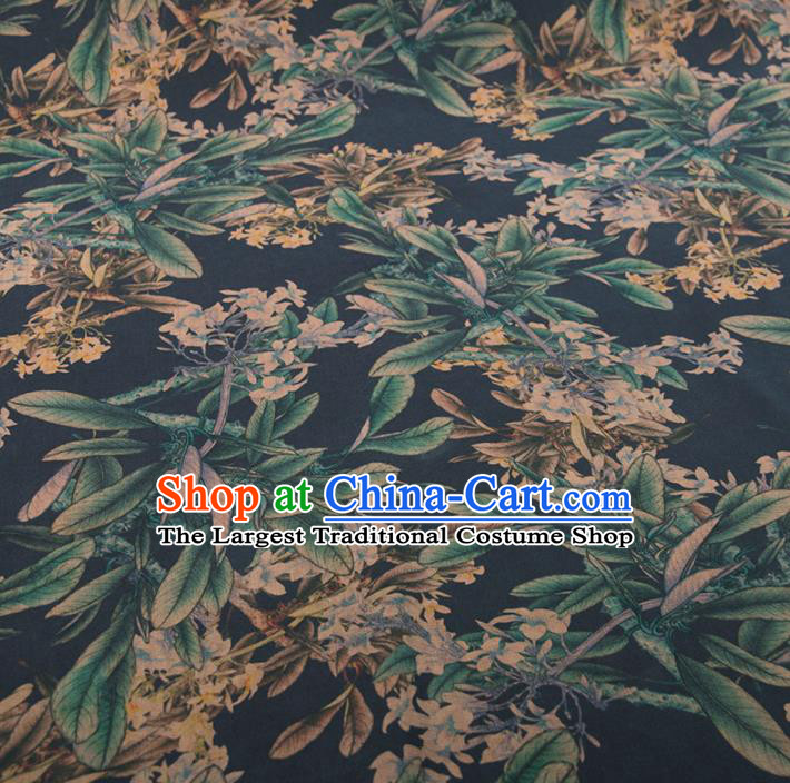 Asian Chinese Classical Leaf Pattern Navy Brocade Satin Drapery Traditional Cheongsam Brocade Silk Fabric