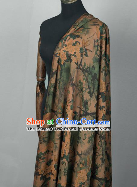 Asian Chinese Classical Pear Flowers Pattern Khaki Brocade Satin Drapery Traditional Cheongsam Brocade Silk Fabric