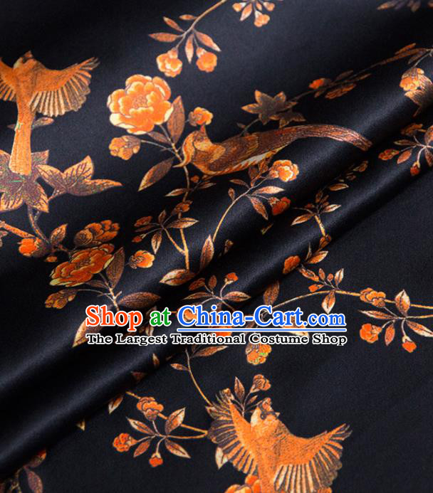 Asian Chinese Classical Birds Pattern Navy Brocade Satin Drapery Traditional Cheongsam Brocade Silk Fabric
