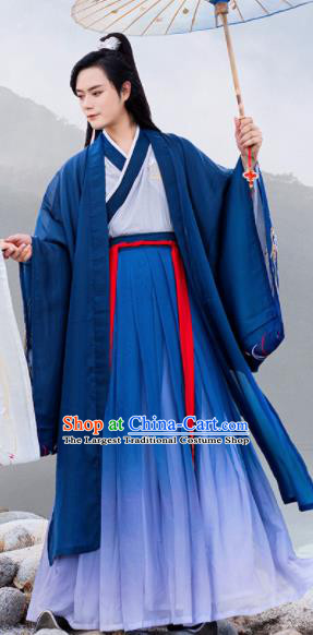 Chinese Ancient Han Dynasty Scholar Embroidered Historical Costume Antique Traditional Nobility Childe Hanfu Clothing for Men