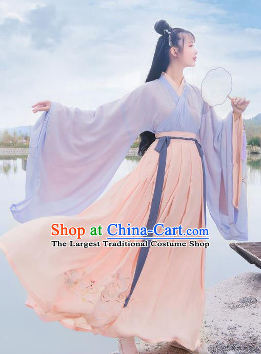Chinese Ancient Palace Lady Embroidered Hanfu Dress Antique Traditional Jin Dynasty Princess Historical Costume for Women