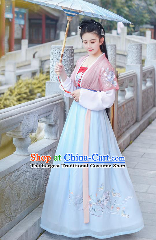 Chinese Ancient Young Lady Embroidered Hanfu Dress Antique Traditional Song Dynasty Historical Costume for Women